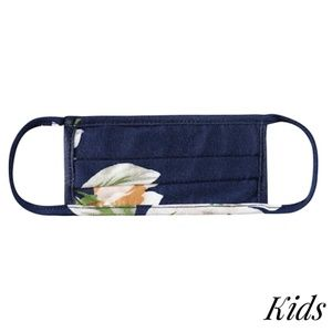 KIDS Face Mask Reusable Floral Pleated